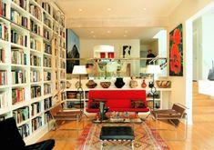 fabelhaft Bücherregale rot couch glastisch
