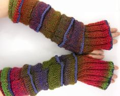 Very long colorful knit fingerless gloves knit arm by piabarile, $47.00