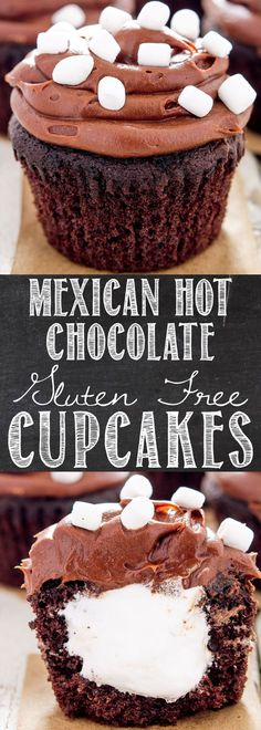 Mexican Hot Chocolate Gluten Free Cupcakes - All the happiness of hot chocolate, plus the zip of cayenne and cinnamon, with a marshmallow fluff filling that's sure to bring out the kid in everyone! | Add a little spice to your simple chocolate cupcakes!