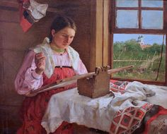 """""""Peasant Girl with Embroidery"""" by Philipp Malyavin (1869-1940) By her dress and the onion domes in the background I'd say she's Russian.It's a """"slate"""" style frame, I like the Norse style box that is designed to allow the frame to rest the top edge of the frame."""