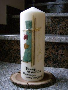 Selbstgestaltete Kerzen - TRAUERKERZEN