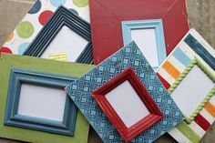 Distressed painted frames to match PBK Madras bedding.