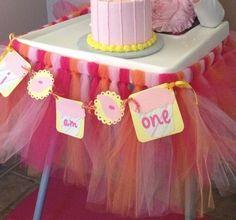 1st Birthday Banners Highchair Skirt Pink Yellow Orange | eBay