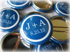 Cheap Wedding Favors - 100 Personalized Pins - 1 Inch (Small)