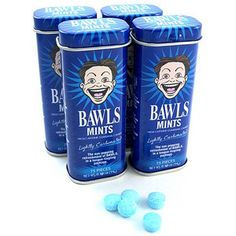 $1.99 BAWLS Caffeinated Mints - Spiked with the same high-caffeine Guarana that fuels the amazing BAWLS soft drink, these fizzy sweet mints are some of the best candies around to help you stay up all night. They are even slightly carbonated to mimic that authentic BAWLS experience. And they taste great!