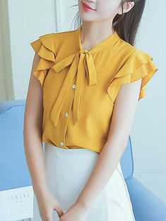 Buy Tie Collar Plain Frill Sleeve Blouse online with cheap prices and discover fashion… Cute Blouses, Red Blouses, Chiffon Blouses, White Shirts Women, Blouses For Women, Blouse Styles, Blouse Designs, Hijab Fashion, Fashion Outfits