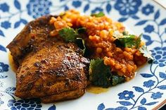 Yoghurt-rubbed chicken with tomato lentils