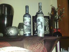 Μπουκαλια με χαρτοπετσετα κ ακρυλικο χρωμα κ στοκο στο ψηλο μπουκαλι