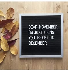 dear november / i'm just using you to get to december