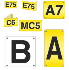 Model AM1 #Aisle #Markers High visibility aisle markers manufactured in rigid white or yellow styrene with black characters Drilled in four corners for easy fixing Model AM4 is available in yellow only Price includes printing See more at: http://shop.hsil.co.uk/p-3360-aisle-markers.aspx#sthash.owR0Siur.dpuf