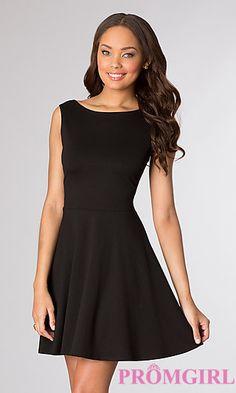 Short Sleeveless Little Black Dress at PromGirl.com