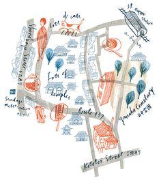 Iceland map by Veronica Cerri San Francisco map by Marisa Seguin Yanaka, Tokio map by Masako Kubo Paris map by Jo. Art And Illustration, Illustrations Posters, Tokyo Map, Mental Map, Paris Map, Map Design, City Maps, Planer, Illustrators