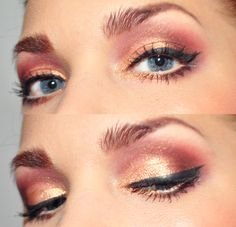 Todays look – Reach out and touch faith -Too faced Shadow insurance, MUS MS Glam peach, Elf mineral eyelshadow golden
