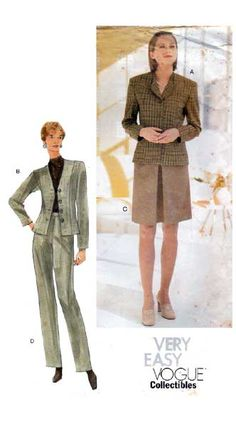Vogue Sewing Patterns, Princess Seam, Petite Size, Shoulder Pads, Denim Fashion, Retro Vintage, Jackets For Women, Formal, Skirts