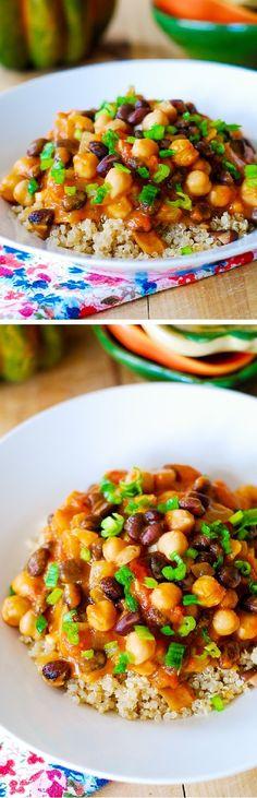 Pumpkin Thai curry - gluten free, vegetarian, vegan, very low in fat and calories! Served over gluten-free quinoa!