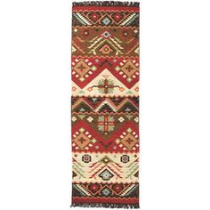Hand-woven Red/Tan Southwestern Aztec Santa Fe Wool Flatweave Rug (2'6 x 8') | Overstock.com Shopping - The Best Deals on Runner Rugs