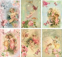 Vintage inspired angel fairy small note cards tags ATC altered art set 6 #Handmade #AnyOccasion