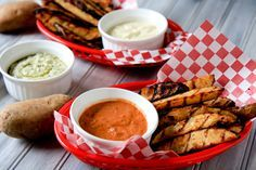 I've grilled sweet potatoes before and it works so well. Especially intrigued by the sauces for this one.  Perfect grilled potato wedges (plus a trio of dipping sauces)