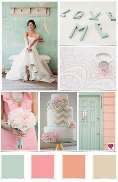 Mint and Peach - may have to work with these colors til I can paint.