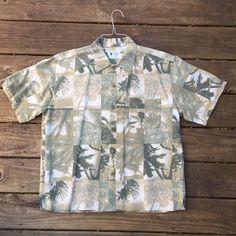36e981685 Vintage Silk Hawaiian Shirt- Men's L- Large- Palm Trees- 1960s- 1970s