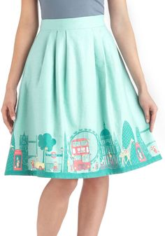 Been There, London That Skirt - Cotton, Long, Green, Daytime Party, Quirky, A-line, Multi, Novelty Print, Pastel, International Designer