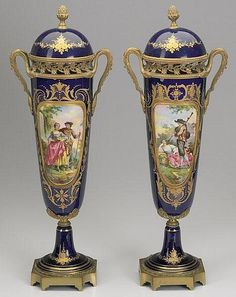 Large Decorative Urns With Lids Large Unmarked Porcelain Painted Urn Mounted In Metal  Very