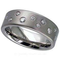 Geti Titanium Diamond Scatter Ring. Titanium & Diamond Wedding Rings.