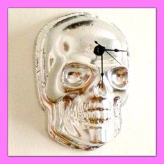 Silver Skull Wall Clock // Battery Included // by SokayDesigns, $35.00