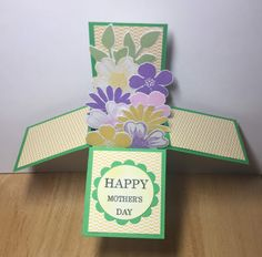 Pop Up Box Cards, Circle Punch, Bubblegum Pink, Bubble Gum, Daffodils, Happy Mothers Day, Cardmaking, Stampin Up, Card Stock