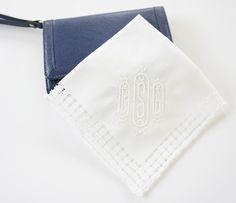 Cameo Monogrammed Handkerchief, Cotton Handkerchief, Personalized Handkerchief,  Bridal Handkerchief, Wedding Handkerchief