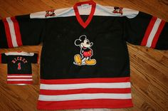 Mickey Mouse sewn Hockey Jersey Men's M/L Walt Disney #Genus #Jerseys