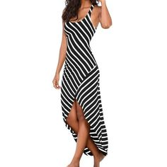 3ccefb5ecc48 Refeeldeer Summer Sundress Female Striped Long Maxi Dress Tunic Boho Beach  Dress Robe - Clothes. Abiti Estivi Per Le Donne