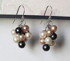 Genuine pearl cluster earrings Multiple colors by Pearlland88, $25.00