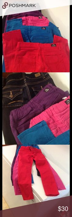 Jordache Lil Girls Jeans 💕 Five pair of gently used jeans, stylish like the Big girls 💋 Dark denim are flare bottoms size 7, the other colored jeans are super skinny and are size 8, All are Adjustable waist, which is a plus 👍🏾 JORDACHE Bottoms Jeans