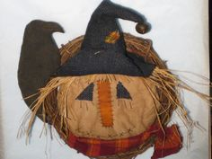 Primitive Scarecrow Head Door Hanger Wreath - Halloween - Fabric.