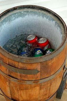 Barrel cooler... this would be awesome, especially for those party/gathering events!