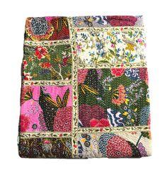Queen Kantha Quilt, Floral patchwork Kantha Quilt, Block Print Quilt, Kantha Blanket, Kantha Bedspread, Queen Bedding Indian Queen Quilt