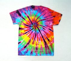 Small Tie Dye Shirt Funky Rainbow Spiral by TieDyeBySandy on Etsy, $17.99