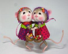 Maus/Bunny Nadel Felted Tier Klasse gekleidet / Create von barby303