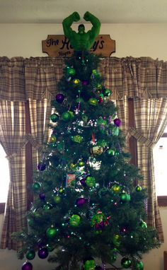 Hulk christmas tree!! We do a theme every year. This year we decided to do the Incredible Hulk!