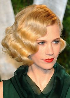 January Jones-Love these finger waves! Unfortunately I have too much hair for this.