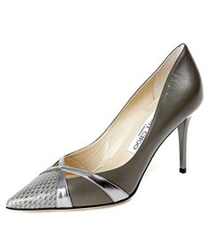 9e48339bf70 Jimmy Choo Womens Metallic Silver Panel Pointed Toe Real Leather Stilettos  38 Gray Olive    Want to know more
