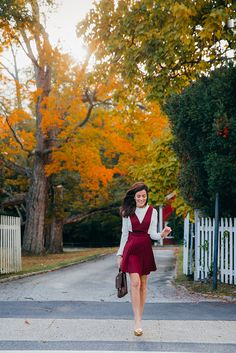 New England Charm. Classy Girls Wear Pearls. Super cute red overall dress! :D