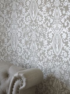 """Fargerike is now launching a new wallpaper in their trend collection called """"Fort Hjort""""(!) Normally I´m not very fond of patterned wallpaper,. Steampunk House, Textiles, Blog Design, Designer Wallpaper, Bed Spreads, Window Treatments, Sweet Home, New Homes, Flooring"""