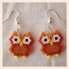 Owl earrings hama mini beads by Kimi's Shop