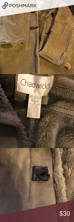 Chadwick's Women's Coat Size Large This is a great Coat that is super soft and super comfy . Hood is attached and fully lined . It has a zipper and toggles . This coat would be a great match for a taller women 34 in long . Enjoy the warmth and the shearling look . Chadwicks Jackets & Coats Utility Jackets