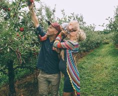 Barefoot Blonde and family apple picking