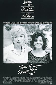 "1983 Academy Award Winners    Picture: Terms of Endearment  Actor: Robert Duvall (Tender Mercies)  Actress: Shirley MacLaine (Terms of Endearment)  Supporting Actor: Jack Nicholson (Terms of Endearment)  Supporting Actress: Linda Hunt (The Year of Living Dangerously)Director: James L. Brooks (Terms of Endearment)Adapted Screenplay: James L. Brooks (Terms of Endearment)Original Screenplay: Horton Foote (Tender Mercies)  Song: ""Flashdance...What a Feeling""  Original Score: The Right Stuff…"