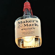 Makers Mark Pendant Light Shade - Bourbon Bottle Light – Looking Sharp Cactus LLC Plug In Pendant Light, Pendant Light Fixtures, Pendant Lighting, Alcohol Bottles, Glass Bottles, Don Papa, Whiskey Gifts, Bourbon Gifts, Glass Light Shades