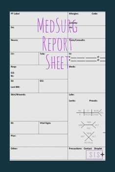 Report sheet made for med/surg units. This sheet features areas for systems assessments, lines, history, labs, precautions plans and more. Nursing Pneumonics, Med Surg Nursing, Medical Surgical Nursing, Nursing School Tips, Nursing Career, Nursing Notes, Nursing Schools, Nursing Tips, Nurse Brain Sheet